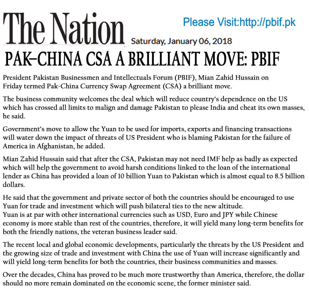 Pak China Csa Termed A Brilliant Move Business Community Welcomes